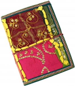 Indian notebook, diary with patchwork binding - yellow