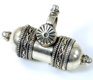 Ethno silver pendant with secret compartment, talisman