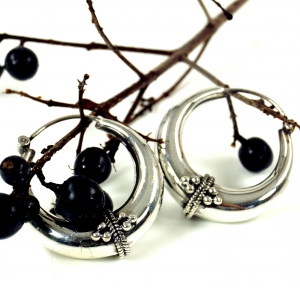 Ethno Earrings, Boho Silver Creoles Creoles - 4