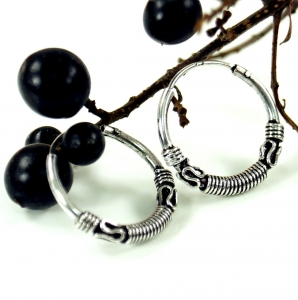 Ethno earrings, Boho silver earrings creoles - 2,2 cm