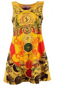 Mirror Tank Top, Longshirt, Minidress - Meditation Om/yellow