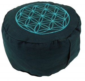 Meditation pillow flower of life with spelt filling - petrol