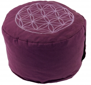 Meditation cushion flower of life with spelt filling - lemon