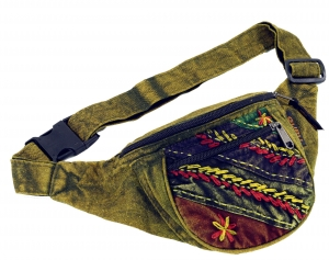 Embroidered Ethno Sidebag, Nepal Belt Bag - lemon