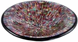 colourful striped mosaic bowl round
