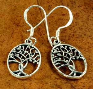 Ethno silver earrings `Tree of life`