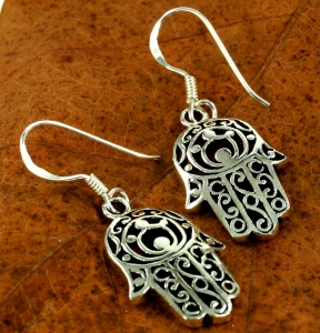 Ethno Silver Earrings `Flower of Life`