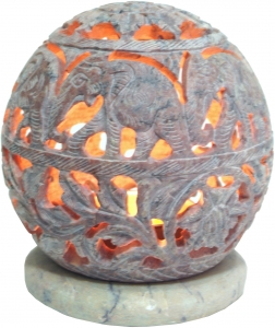 Indian fragrance potpourri container of soapstone, tea light - ball elephants - 9,5x9x9 cm Ø9 cm