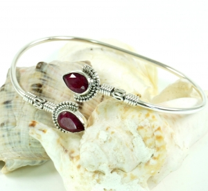 Boho Bangle Bracelet with Semiprecious Stone - Ruby