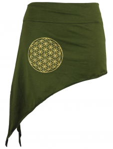 Pixi skirt with golden `Flower of Life` Mandala - olive