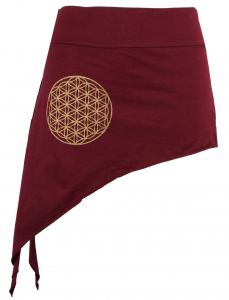 Pixi skirt with golden `Flower of Life` Mandala - bordeaux