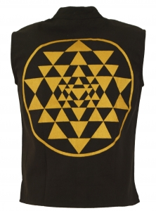 Goaweste, Psytrance men vest with Shri Yantra print - coffee