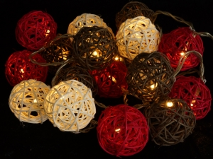 Rattan Ball LED Ball Lantern Chain of Lights - red/brown/white