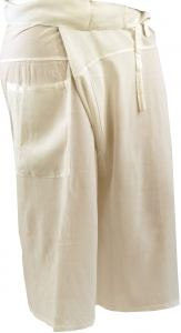 3/4 Rayon Thai Fishing Pants, Yoga Pants - white