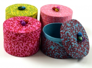 Colourful jewellery boxes made of handmade Lokta paper, set of 4