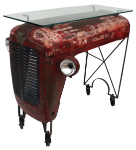 Tractor sideboard with glass top