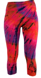 3/4 Batik Damen Leggings, Stretch Sporthose für Frauen, Yogahose
