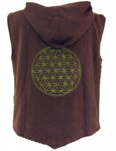 Goaweste, Festival Men`s vest with `Flower of Life` print coffee