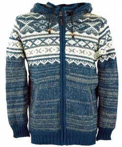 Cardigan with Norwegian pattern, wool jacket, Nepal jacket - blue