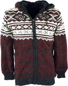 Cardigan with Norwegian pattern, wool jacket, Nepal jacket - red