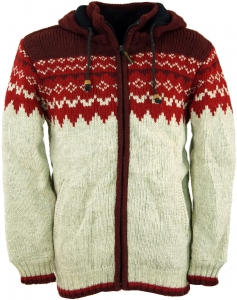 Norwegian wool cardigan cardigan - red