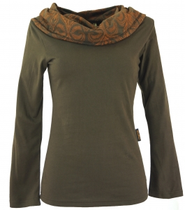 Hooded shirt, Boho shirt with printed shawl hood - cappuccino