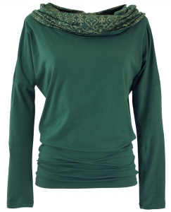 Loose long shirt, boho shirt shawl hood - emerald green
