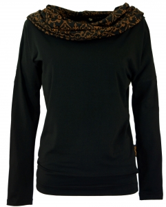 Loose Longshirt, Boho Shirt Shawl Hood - black