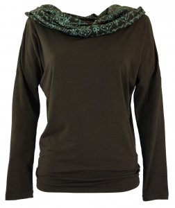 Loose long shirt, boho shirt shawl hood - coffee