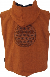 Goaweste, Festival Men`s vest with `Flower of Life` print - orang..