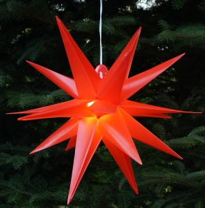 3D outer star Ø 55 cm, poinsettia, folding star Kaspar with 18 ti..