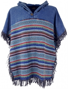 Andean poncho with hood and fringes, Boho, Ethno poncho - blue