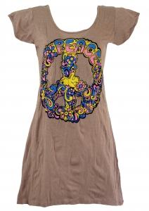 Baba longshirt, short sleeve, psytrance mini dress - Peace/brown