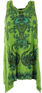 Baba Longshirt, Psytrance mini dress - henna green flowers
