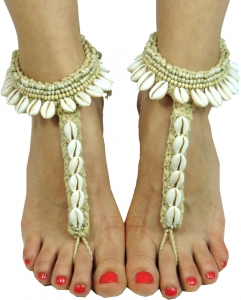Barefoot sandal, anklet, foot jewelry, Goaschmuck, barefoot decor..