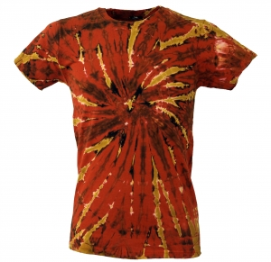 Batik T-Shirt, Men`s Short Sleeve Tie Dye Shirt - orange