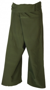 Cotton fishing pants, wrapping pants yoga pants from Nepal - oliv..