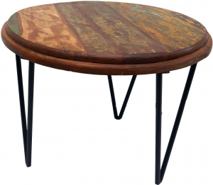 Side table, round coffee table with metal feet