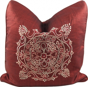Embroidered cushion cover, cushion cover Mandala `Bali` red