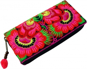 Embroidered Ethno Wallet Chiang Mai - pink/black