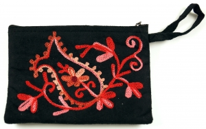 Embroidered cashmere wallet -