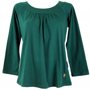 Boho Shirt with Fatima`s Hand - emerald
