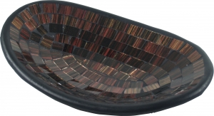 small brown oval mosaic bowl