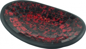 small red oval mosaic bowl