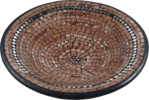 light brown mosaic bowl with mirrors round