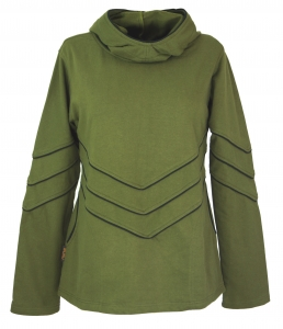 Elven Sweatshirt, Hoody with long hood - olive