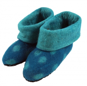 Felt slippers dots - turquoise