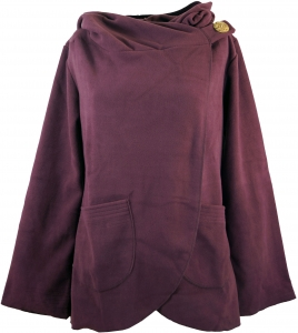 Fleece Cape Wickeljacke - plum
