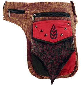 Goa belt bag, belly bag, patchwork sidebag - red