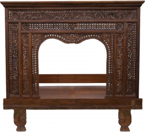 Historical four-poster bed, teak day bed - Model 4